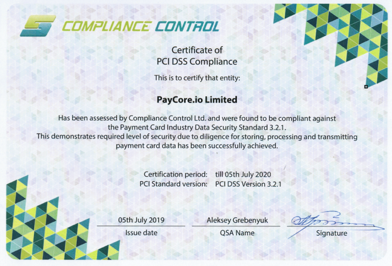 PayCore.io is PCI DSS Compliant